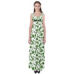 Vintage Christmas Ornaments In Green On White Empire Waist Maxi Dress