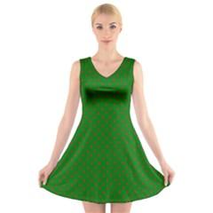 Mini Red Dots On Christmas Green V Neck Sleeveless Skater Dress