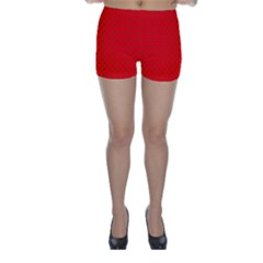 Small Christmas Green Polka Dots On Red Skinny Shorts
