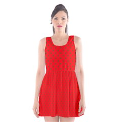 Small Christmas Green Polka Dots On Red Scoop Neck Skater Dress
