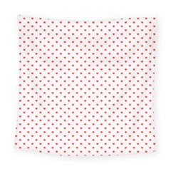 Small Christmas Red Polka Dot Hearts On Snow White Square Tapestry (large)