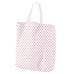 Small Christmas Red Polka Dot Hearts On Snow White Giant Grocery Zipper Tote