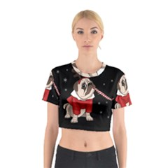 Pug Xmas Cotton Crop Top