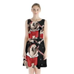 Pug Xmas Sleeveless Waist Tie Chiffon Dress