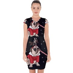 Pug Xmas Capsleeve Drawstring Dress