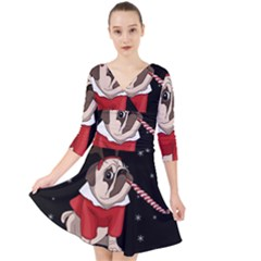 Pug Xmas Quarter Sleeve Front Wrap Dress