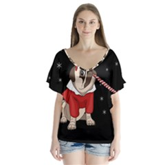 Pug Xmas V Neck Flutter Sleeve Top
