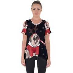 Pug Xmas Cut Out Side Drop Tee
