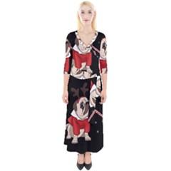 Pug Xmas Quarter Sleeve Wrap Maxi Dress