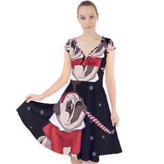 Pug Xmas Cap Sleeve Front Wrap Midi Dress