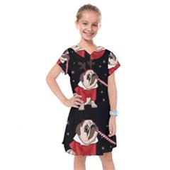 Pug Xmas Kids  Drop Waist Dress