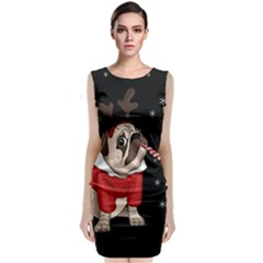 Pug Xmas Sleeveless Velvet Midi Dress