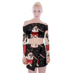Pug Xmas Off Shoulder Top With Mini Skirt Set