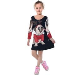 Pug Xmas Kids  Long Sleeve Velvet Dress