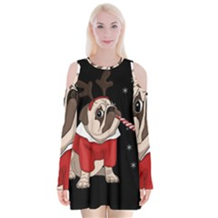 Pug Xmas Velvet Long Sleeve Shoulder Cutout Dress