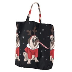 Pug Xmas Giant Grocery Zipper Tote