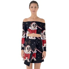 Pug Xmas Off Shoulder Top With Skirt Set
