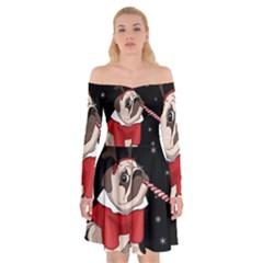 Pug Xmas Off Shoulder Skater Dress