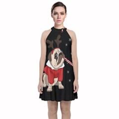 Pug Xmas Velvet Halter Neckline Dress