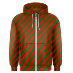 Red And Green Christmas Candycane Stripes Men s Zipper Hoodie