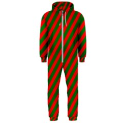 Red And Green Christmas Candycane Stripes Hooded Jumpsuit (men)