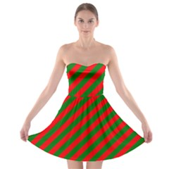 Red And Green Christmas Candycane Stripes Strapless Bra Top Dress