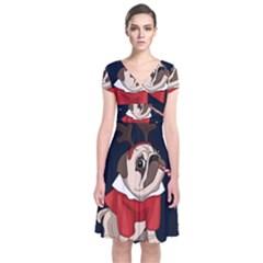 Pug Xmas Short Sleeve Front Wrap Dress