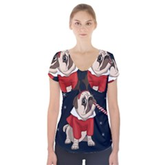 Pug Xmas Short Sleeve Front Detail Top