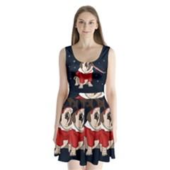 Pug Xmas Split Back Mini Dress