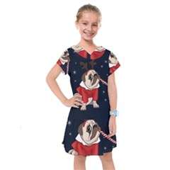 Pug Xmas Kids  Drop Waist Dress