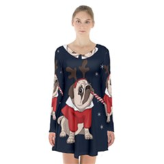Pug Xmas Long Sleeve Velvet V Neck Dress