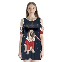 Pug Xmas Shoulder Cutout Velvet One Piece