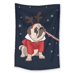 Pug Xmas Large Tapestry