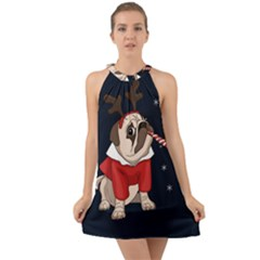 Pug Xmas Halter Tie Back Chiffon Dress