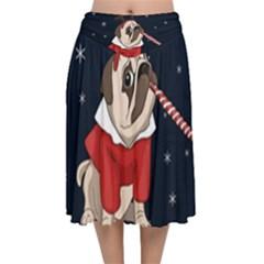 Pug Xmas Velvet Flared Midi Skirt