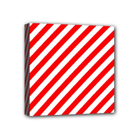 Christmas Red And White Candy Cane Stripes Mini Canvas 4  X 4