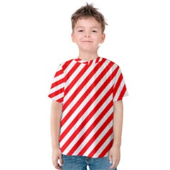 Christmas Red And White Candy Cane Stripes Kids  Cotton Tee