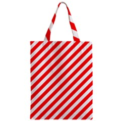 Christmas Red And White Candy Cane Stripes Zipper Classic Tote Bag