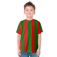 Wide Red And Green Christmas Cabana Stripes Kids  Cotton Tee