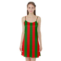 Wide Red And Green Christmas Cabana Stripes Satin Night Slip