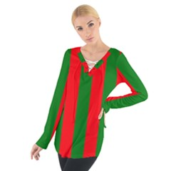 Wide Red And Green Christmas Cabana Stripes Tie Up Tee