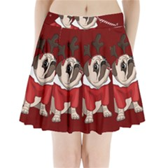 Pug Xmas Pleated Mini Skirt