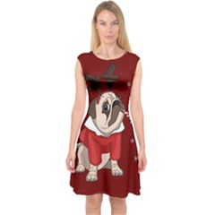 Pug Xmas Capsleeve Midi Dress