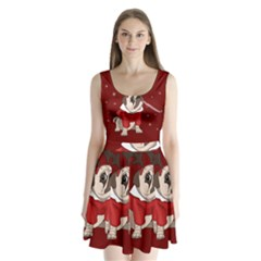 Pug Xmas Split Back Mini Dress