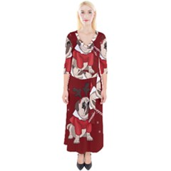 Pug Xmas Quarter Sleeve Wrap Maxi Dress