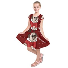 Pug Xmas Kids  Short Sleeve Dress