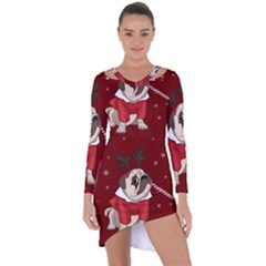 Pug Xmas Asymmetric Cut Out Shift Dress
