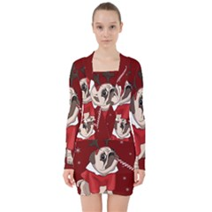 Pug Xmas V Neck Bodycon Long Sleeve Dress