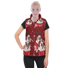 Pug Xmas Women s Button Up Puffer Vest