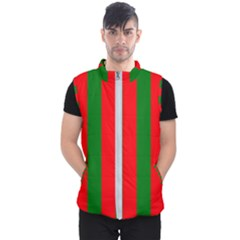 Wide Red And Green Christmas Cabana Stripes Men s Puffer Vest